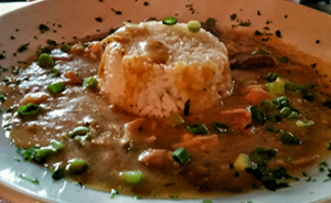 Clarksdale has great gumbo in more than a few of its restaurants (pictured, New Orleans style gumbo at Levons).